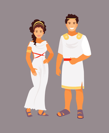 Ancient Greek man and woman in traditional clothes. Vector illustration