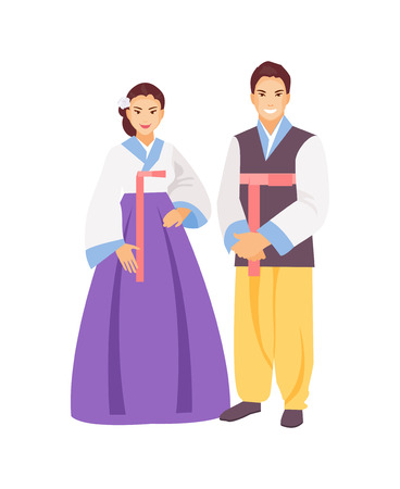 Korean man and woman in traditional clothes. Vector illustration
