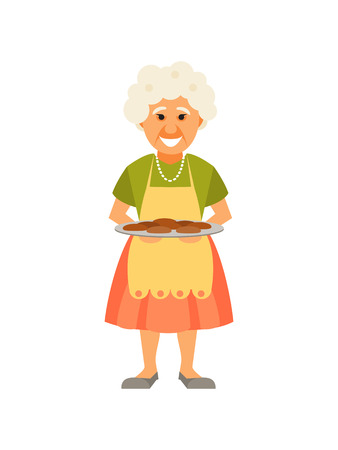 Smiling cartoon grandmother with pies. Vector illustration