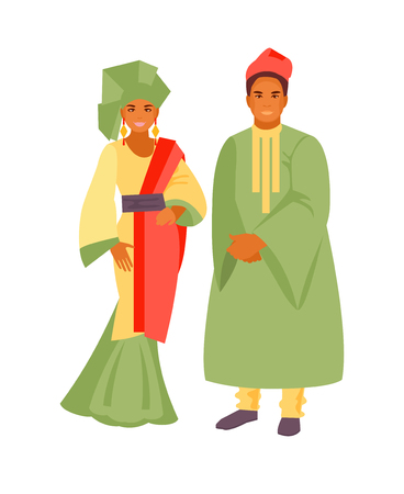 African man and woman in traditional costumes. Vector illustration