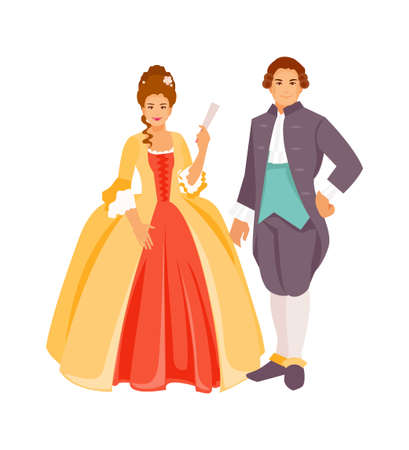 Portraits of a man and a woman in 18th century costumes. Vector illustration