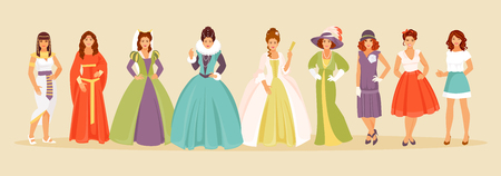 The history of the evolution of fashion women from ancient times to the present. Vector illustration
