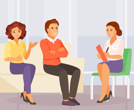 Married couple at the consultation with a psychologist. Vector illustration