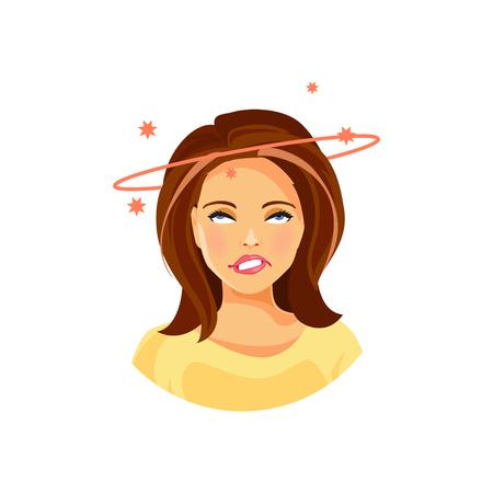 Ilustración de una niña con dolor de cabeza y mareos Ilustración de vector