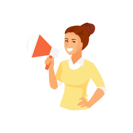 Smiling girl with a loudspeaker makes an announcement. Advertising and promotion. Vector illustration Illusztráció