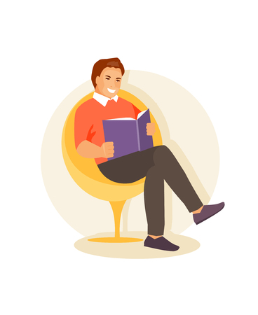 Male sitting in a chair and reading a book. Vector illustration