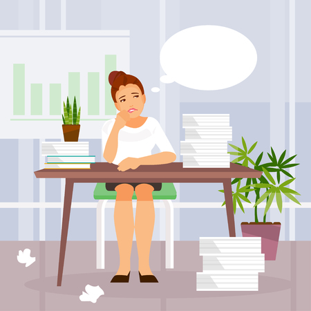 Tired business woman in the office with a cloud of thoughts. Vector illustration