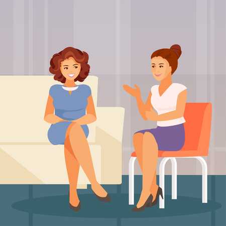 Two girl friends sitting and talking. Support and communication. Vector illustration