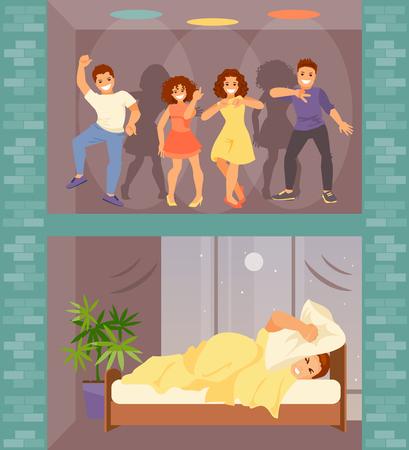 Uomo a letto con l'insonnia. I vicini rumorosi dall'alto hanno organizzato una festa. Illustrazione vettoriale Vettoriali