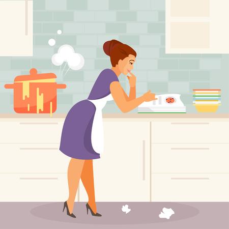 Cartoon jonge huisvrouw ondervindt problemen in de keuken. Humoristische vectorillustratie