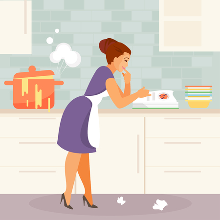 Cartoon young housewife is experiencing difficulties in the kitchen. Humorous vector illustration Archivio Fotografico - 111738413