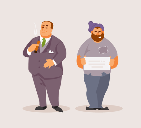 Rich man and a homeless man. Social inequality. Vector illustration