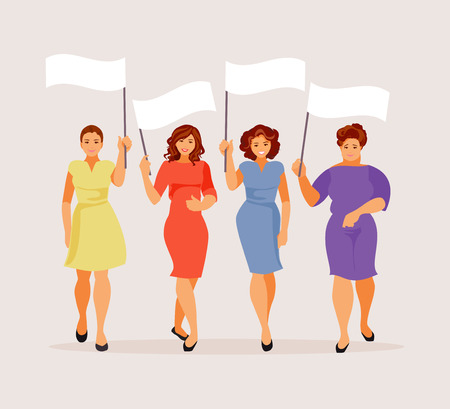 Group of walking women with empty banners. Vector illustration
