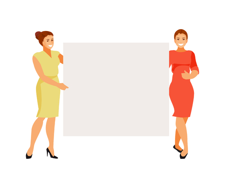 Women holding an empty poster. Advertising and presentation. Vector illustration 일러스트
