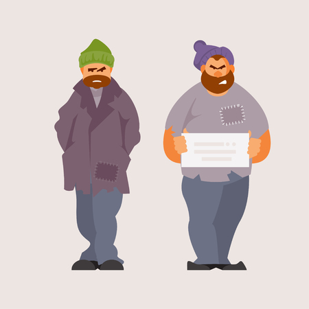 Homeless unemployed people. Social inequality. Vector illustration