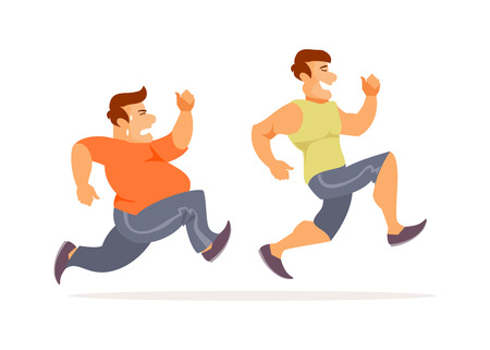 Fat and athletic runners. Humorous vector illustration