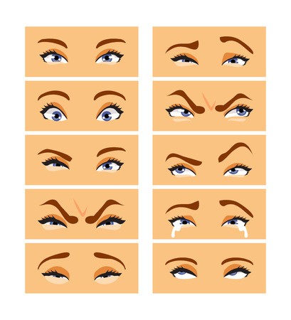 Set of female eye with different emotions and expressions. Vector illustration Ilustração