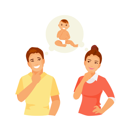 Young couple together dreaming of a baby. Vector illustration