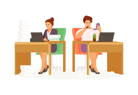 Lazy and hardworking girls in the office. Vector illustration