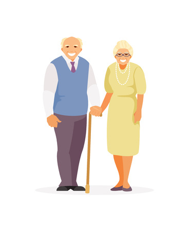 Smiling standing old people. Grandma and grandpa together. Vector illustration