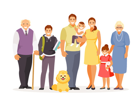 Large standing smiling family on a white background. Love and affection. Vector illustration Ilustração