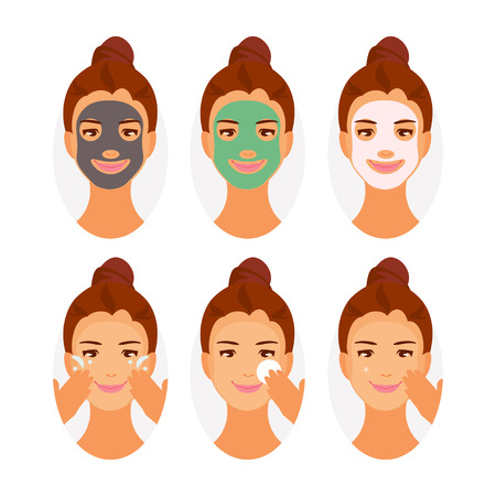 Different types of face masks, cleansing, moisturizing, whitening. Instructions for using the mask. Vector illustration