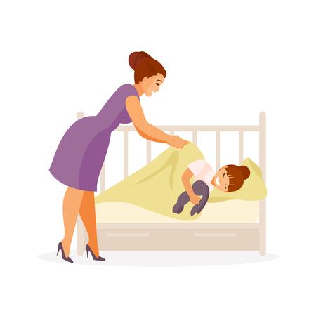 Mama legt ihre Tochter ins Bett und richtet die Decke gerade. Vektorillustration Vektorgrafik