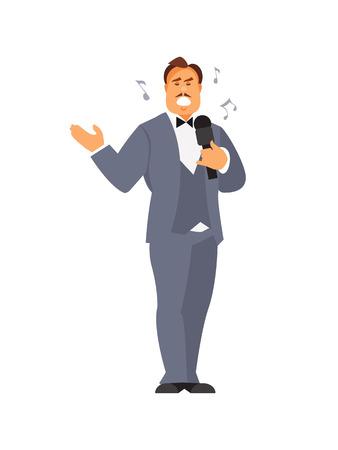 Male Opera singer isolated on white background. Vector illustration