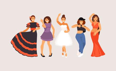 Different dance styles. Ballet, club, street, belly dance historical dance Vector illustration Vettoriali