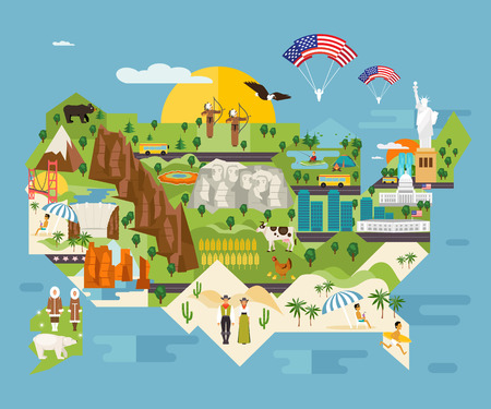 Travel infographics about the United States. National symbols and famous landmarks. Welcome to America. Vector illustrated map