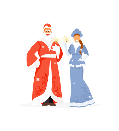 Russian Santa Claus and his granddaughter Snow Maiden. Vector new year characters