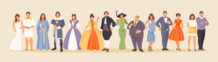 Storia della moda uomo e donna dall'antichità ai giorni nostri. Sviluppo dell'umanità. Illustrazione vettoriale di un ampio set di caratteri