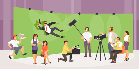 Shooting action movie. People film crew makes a film in the studio. Vector illustration Stock Illustratie
