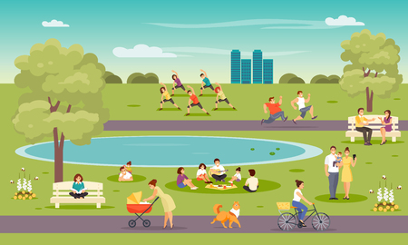 City park. Vacationers people, outdoor fitness, meeting friends, family Vector illustration Stock Illustratie