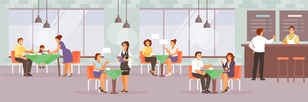Set of people in a modern cafe. Family, friends, colleagues lunch. Vector illustration Stock Illustratie