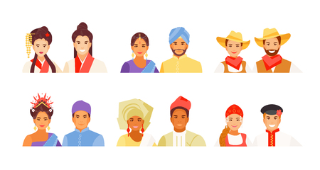 Portraits of people of different nationalities. Chinese, Indian, American, Indonesian, African and Russian historical costumes. Vector avatars