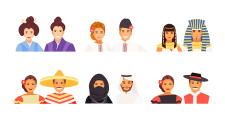 Portraits of people of different nationalities. Japanese, Ukrainian, Egyptian, Mexican, Arabic and historical costumes. Vector avatars Stock Illustratie