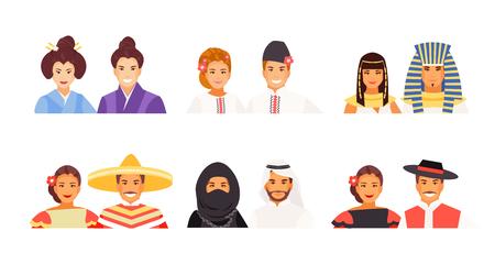 Retratos de personas de distintas nacionalidades. Trajes japoneses, ucranianos, egipcios, mexicanos, árabes e históricos. Avatares vectoriales Ilustración de vector