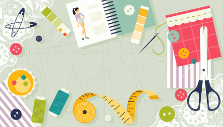 Sewing supplies. Workplace seamstress. Background with place for text. Vector illustration Vector Illustration