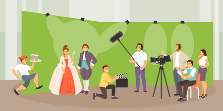 The film crew makes a historical film. Vector illustration Illusztráció