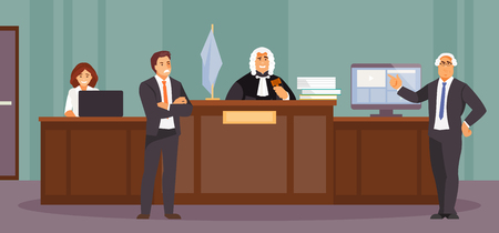 Court session with judge, Secretary, Prosecutor and lawyer. Courtroom, vector illustration Stock Illustratie