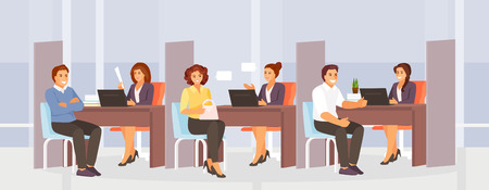 Office interior of the bank with employees and customers. Consultation and service. Vector illustration