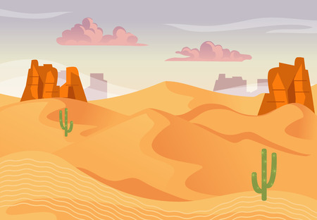 Illustration of desert landscape and sunset. Vector background