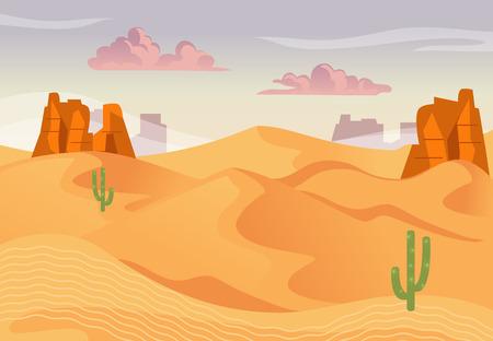 Illustrazione del paesaggio desertico e del tramonto. Sfondo vettoriale