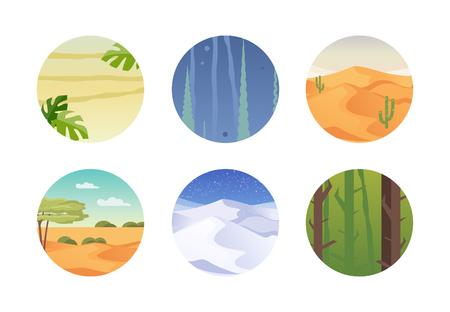 Conjunto de diferentes climas y hábitats. Trópicos, mundo submarino, desierto, estepa, Ártico, bosque Ilustración vectorial