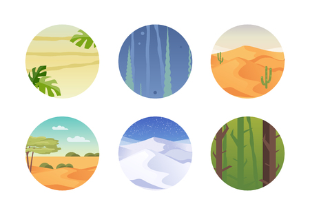Set of different climates and habitats. Tropics, underwater world, desert, steppe, Arctic, forest Vector illustration Çizim