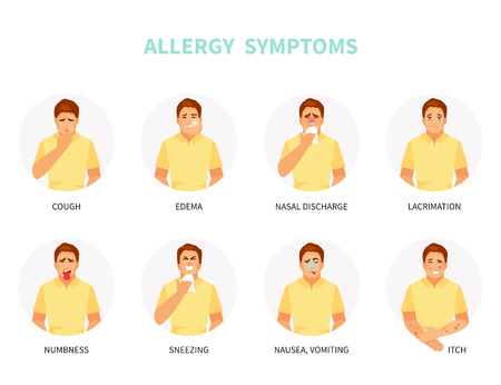 Sick male character with typical allergy symptoms. Vector illustration Stockfoto - 125930714