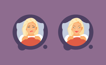 Girl character suffers from insomnia and has a healthy sleep. Vector illustration