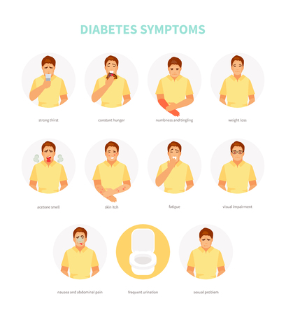 Male character with symptoms of diabetes. Vector medical illustration, poster  イラスト・ベクター素材