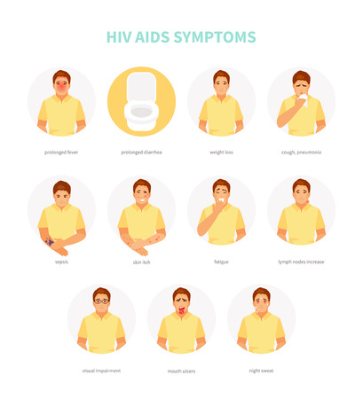 Male character with HIV AIDS symptoms. Vector medical illustration, poster